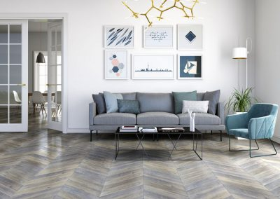 Interior with chevron parquet